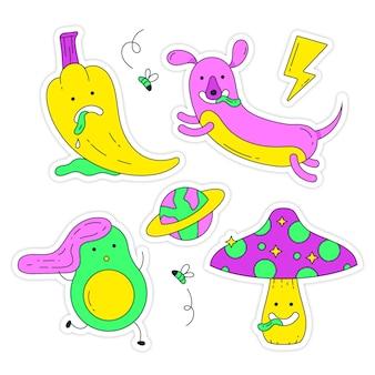 Ręcznie rysowane zabawne naklejki w kwasowych kolorach