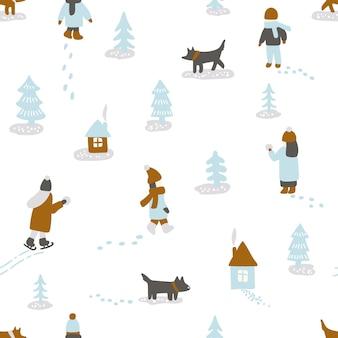 Ręcznie rysowane zabawy zimą. wzór z ludźmi, psami, drzewami i domami