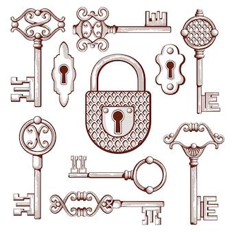 Ręcznie rysowane zabytkowe klucze, zamki i kłódki