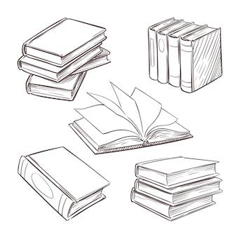 Ręcznie rysowane zabytkowe książki. stosy książek do szkicowania. biblioteka, księgarnia wektor retro elementy projektu na białym tle