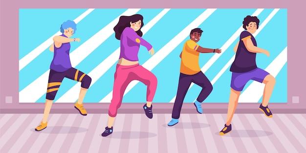 Ręcznie rysowane zajęcia fitness tańca z ludźmi