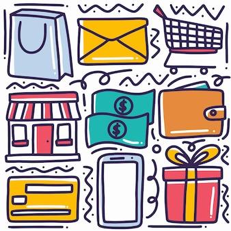 Ręcznie rysowane zakupy doodle zestaw z ikonami i elementami projektu