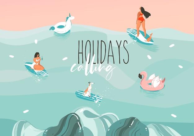 Ręcznie rysowane zapasów abstrakcyjna graficzna ilustracja z zabawną grupą rodzinnych opalających się w krajobraz fale oceanu, pływanie i surfing na białym tle na kolorowym tle.