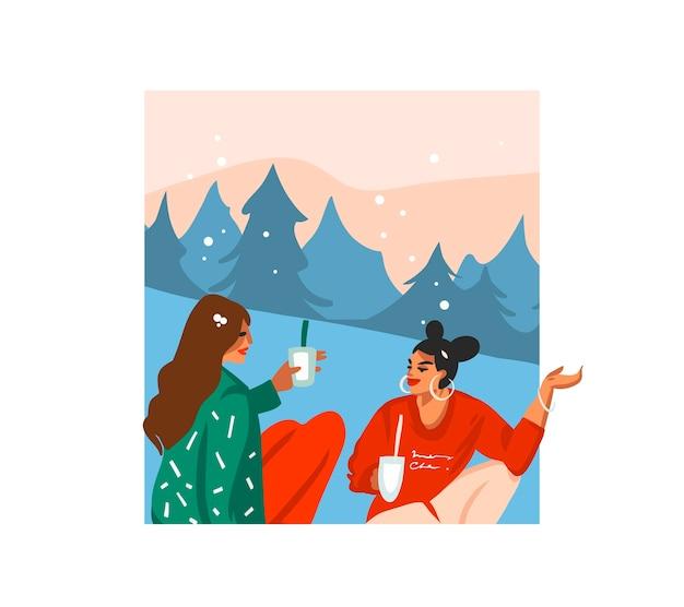 Ręcznie rysowane zapasów płaski wesołych świąt kreskówka świąteczna ilustracja xmas przyjaciół dziewcząt razem pić gorące kakao na białym tle.
