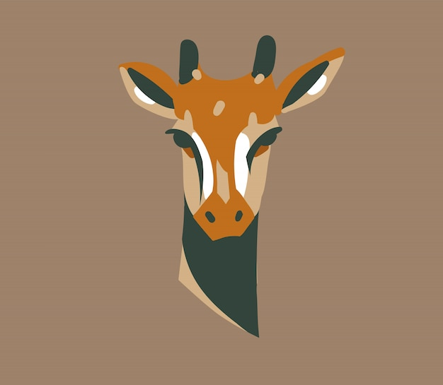 Ręcznie rysowane zapasów streszczenie graficzny ilustracja z dzikiej żyrafy głowa kreskówka na tle