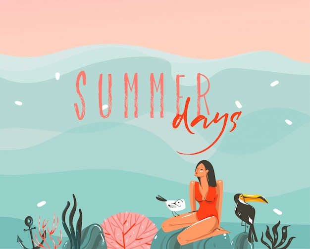 Ręcznie rysowane zapasów streszczenie graficzny ilustracja z pływającą dziewczyną w krajobrazie fal oceanu i tukan ptak na rafach koralowych na niebieskim tle