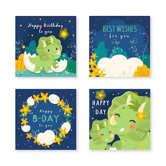 Ręcznie rysowane zaproszenia urodzinowe dinozaurów