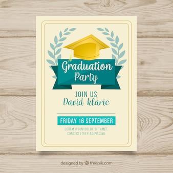 Ręcznie rysowane zaproszenie na przyjęcie dyplomowe