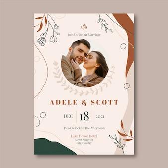 Ręcznie rysowane zaproszenie na ślub boho ze zdjęciem