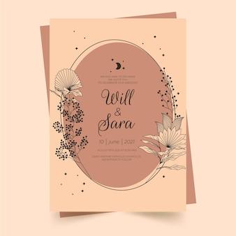 Ręcznie rysowane zaproszenie na ślub boho