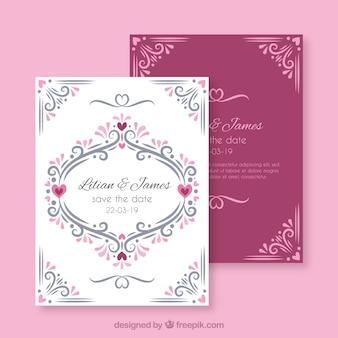 Ręcznie rysowane zaproszenie na ślub z ozdoby