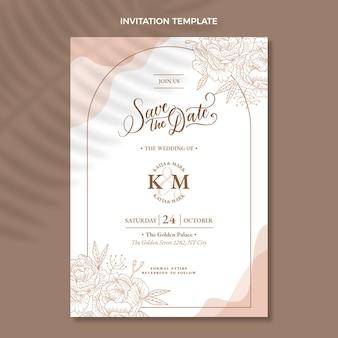 Ręcznie rysowane zaproszenie na ślub