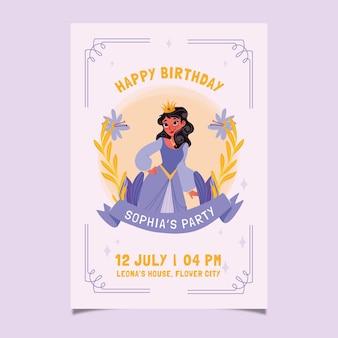 Ręcznie rysowane zaproszenie na urodziny księżniczki