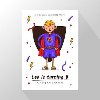 Ręcznie rysowane zaproszenie na urodziny superbohatera
