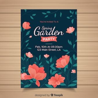 Ręcznie rysowane zaproszenie party garden garden