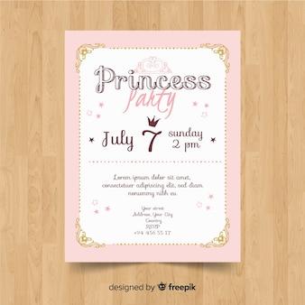 Ręcznie rysowane zaproszenie strony księżniczki