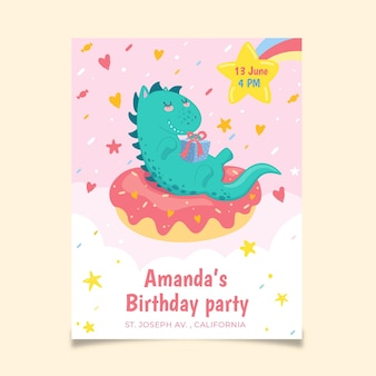 Ręcznie rysowane zaproszenie urodzinowe dinozaura