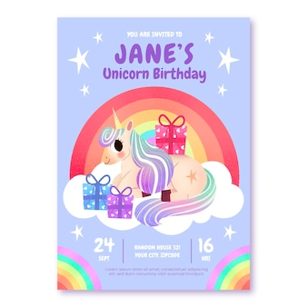 Ręcznie rysowane zaproszenie urodzinowe jednorożca