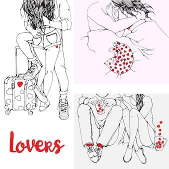 Ręcznie rysowane zarys ilustracje zakochanych par