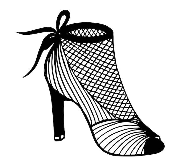 Ręcznie rysowane zarys ozdobnych szpilki ilustracja buta