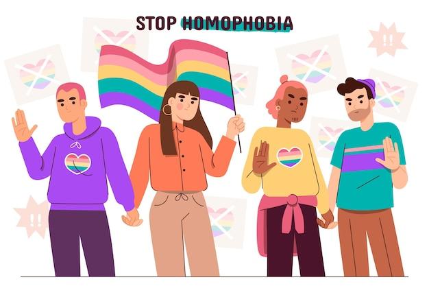 Ręcznie rysowane zatrzymaj homofobię z flagą