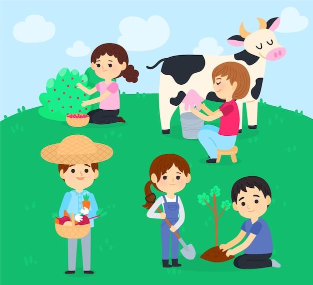 Ręcznie rysowane zawód rolnika