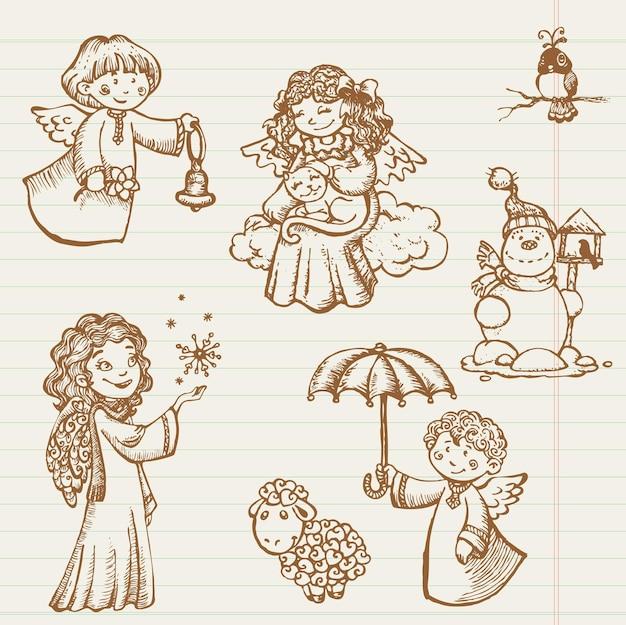 Ręcznie rysowane zbiór aniołów i gryzmoły świąteczne