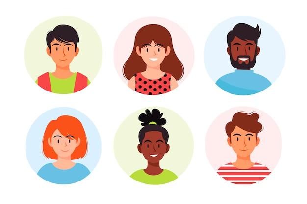 Ręcznie rysowane zbiór różnych ikon profilu