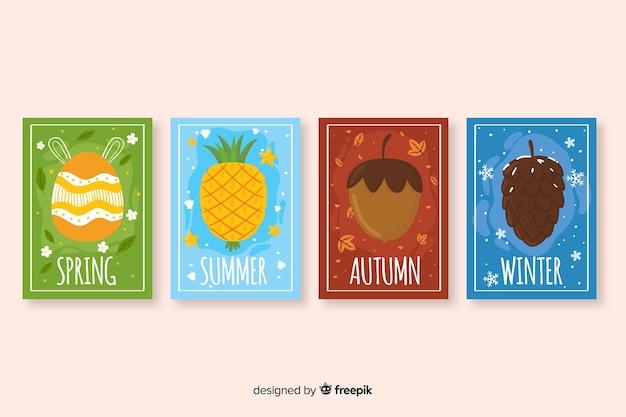 Ręcznie rysowane zbiór sezonowych plakatów