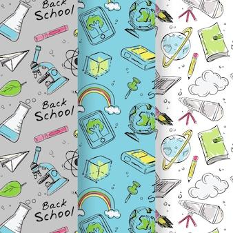 Ręcznie rysowane zbiór wzorców z powrotem do szkoły