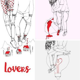 Ręcznie rysowane zbiory ilustracje miłośników par