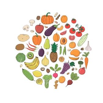 Ręcznie rysowane zbiory owoców i warzyw z nazwą