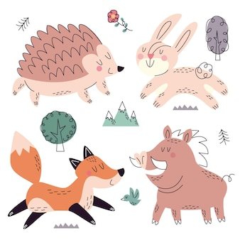 Ręcznie rysowane zbiory przyrody kolekcja