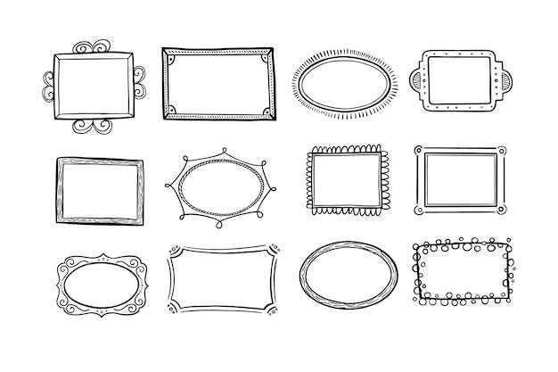 Ręcznie rysowane zbiory ramek doodle doodle