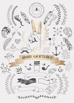 Ręcznie rysowane zbiory wektorów doodle boho