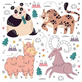 Ręcznie rysowane zbiory zwierząt domowych kolekcji