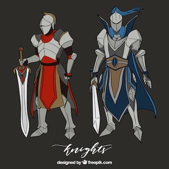 Ręcznie rysowane zbroje rycerzy z mieczami