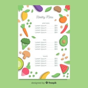Ręcznie rysowane zdrowy szablon menu
