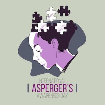 Ręcznie rysowane zdziwiony umysł aspergers dzień świadomości