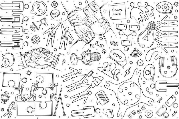 Ręcznie rysowane zespół zestaw doodle tło
