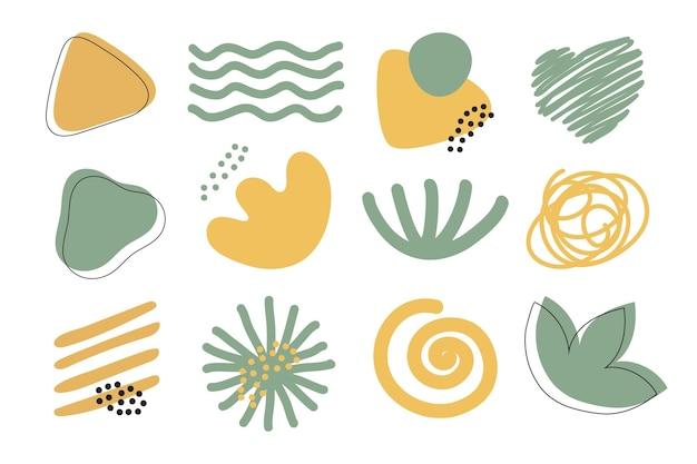 Ręcznie rysowane zestaw abstrakcyjnych kształtów