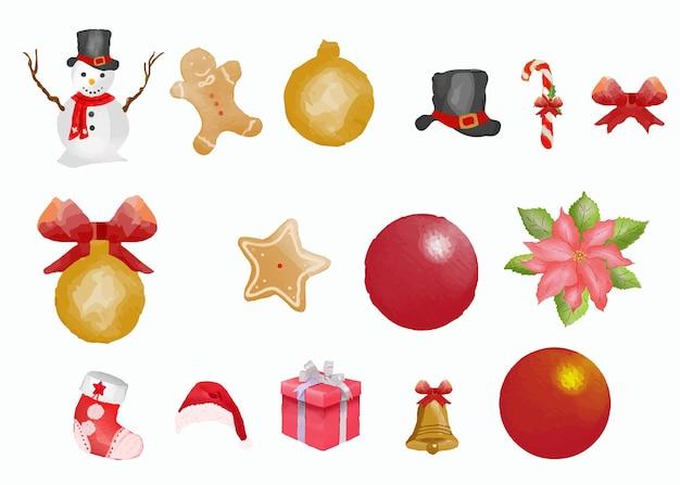 Ręcznie rysowane zestaw akwareli elementów świątecznych i zimowych