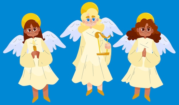 Ręcznie rysowane zestaw anioła bożego narodzenia