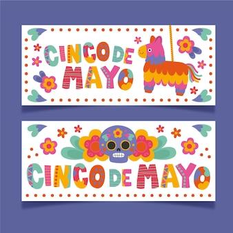Ręcznie rysowane zestaw banerów cinco de mayo