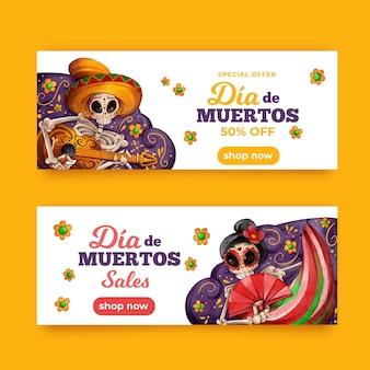 Ręcznie rysowane zestaw banerów día de muertos