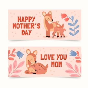 Ręcznie rysowane zestaw banerów dzień matki