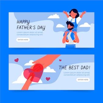 Ręcznie Rysowane Zestaw Banerów Dzień Ojca Premium Wektorów