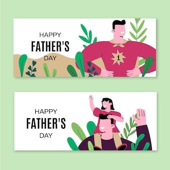 Ręcznie rysowane zestaw banerów dzień ojca