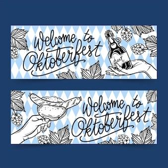 Ręcznie rysowane zestaw banerów oktoberfest