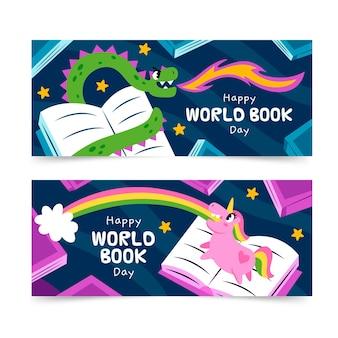 Ręcznie rysowane zestaw banerów światowego dnia książki